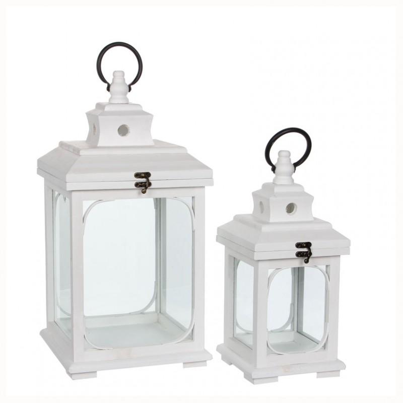 Lanterna bianca cm 24x24x48 1000789g lanterne legno for Lanterne in legno