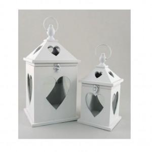 Lanterna legno decoro cuore 125478g lanterne firenze for Lanterne in legno