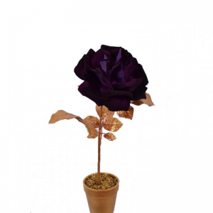ROSA IN VASO CM 41 oro/purple - SI12,64