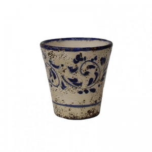 VASO TERRACOTTA SMALT. DEC. H14-blu
