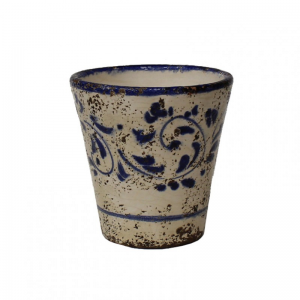 VASO TERRACOTTA SMALT. DEC. H16-blu